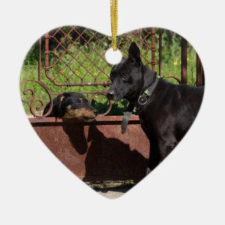 I am the boss ceramic heart ornament