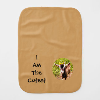 I Am The Cutest Kid (photo of baby goat) Baby Burp Cloths