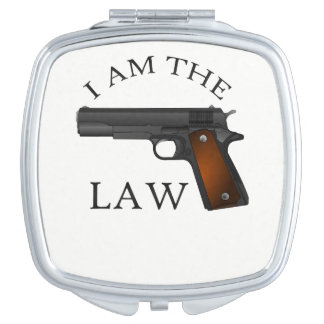 I am the law with a hand gun compact mirror