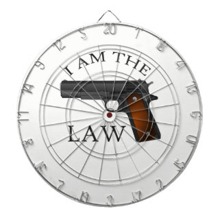 I am the law with a hand gun dartboard