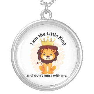 I am the little king silver plated necklace