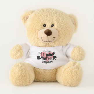 I Am The Middle Brother Personalized Heart Teddy Bear