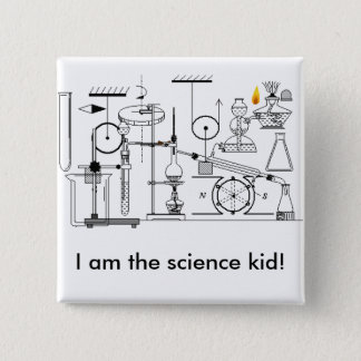 I am the science kid! 2 inch square button