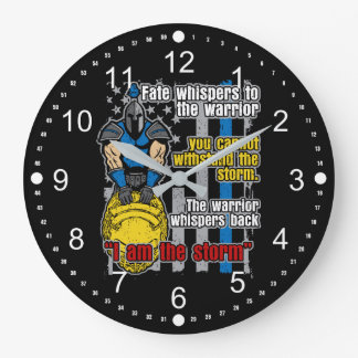 I Am the Storm Police Warrior Large Clock