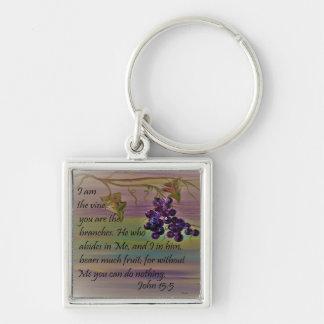I am the Vine Silver-Colored Square Keychain