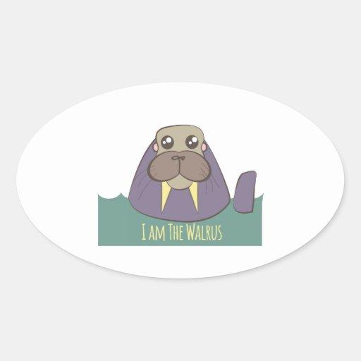 I Am The Walrus Oval Sticker