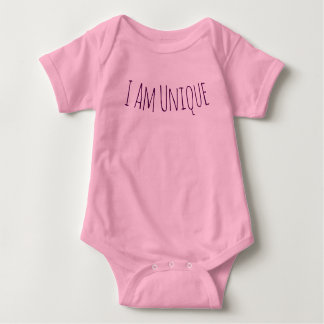 I Am Unique Pink Baby Bodysuit