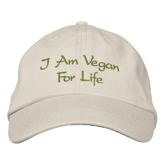 I Am Vegan For Life. Green. Slogan. Custom Embroidered Hats
