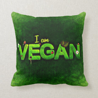 I Am Vegan Written With A Grassy Nature Texture Throw Pillow