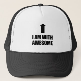 I Am With Awesome Trucker Hat