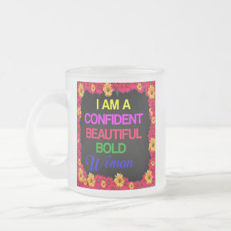 I Am Woman Frosted Glass Coffee Mug