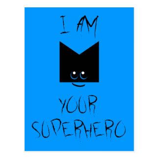 I Am Your Superhero Pop Art Postcard Blue
