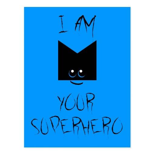 I Am Your Superhero Pop Art Postcard (Blue)