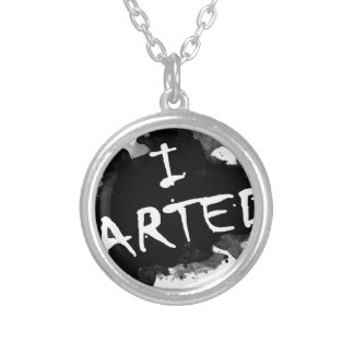 I arted silver plated necklace