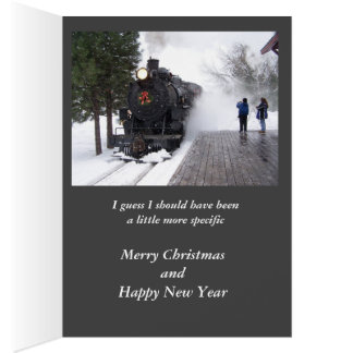 I asked Santa for a train Christmas Card