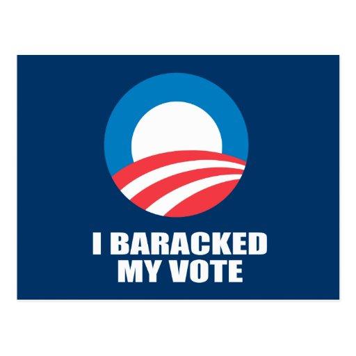 I BARACKED MY VOTE POSTCARD