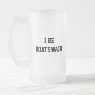 I Be Boatswain. Black White. Custom 16 Oz Frosted Glass Beer Mug