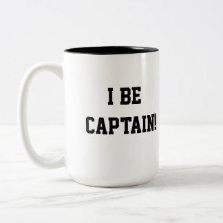 I Be Captain. Black and White. Two-Tone Coffee Mug