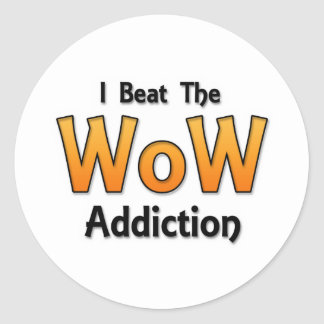 I Beat the WoW Addiction Round Sticker