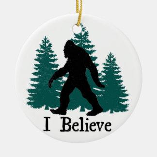 I Believe Bigfoot & Trees Ceramic Ornament
