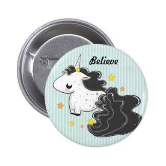 I believe Black cartoon unicorn with stars badge Pinback Buttons