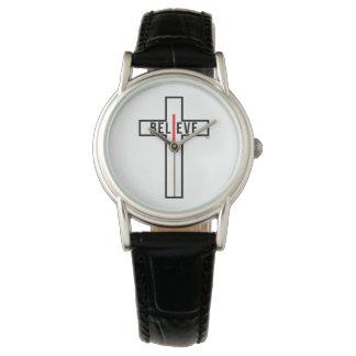 I believe cross, womens black strap watch. watch