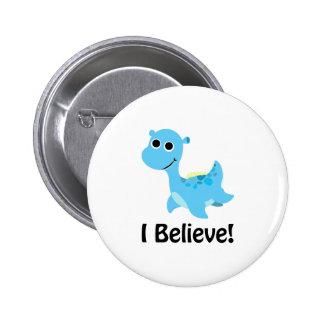 I Believe! Cute Blue Nessie 2 Inch Round Button