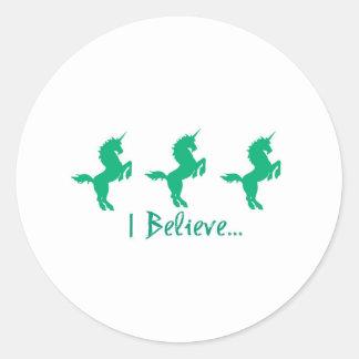 I Believe Green Unicorn Design Classic Round Sticker