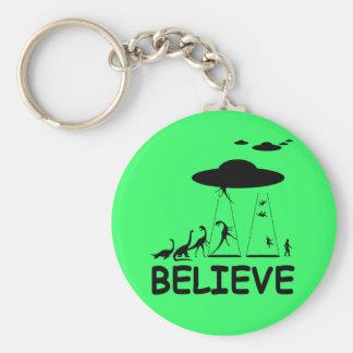 I believe in aliens basic round button keychain