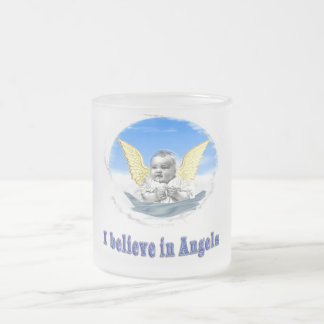 I believe in angels gifts frosted glass coffee mug