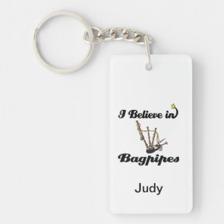 i believe in bagpipes keychain