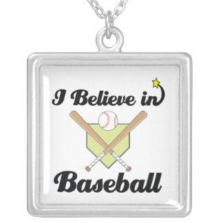 i believe in baseball silver plated necklace