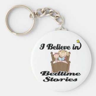 i believe in bedtime stories girl basic round button keychain