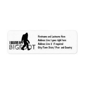 I Believe in Bigfoot  Funny Sasquatch Return Address Label