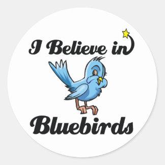 i believe in bluebirds round sticker