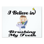"""i believe in brushing my teeth boy 4.25"""" x 5.5"""" invitation card"""