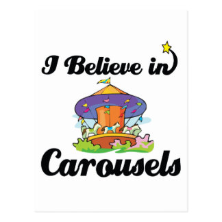 i believe in carousels postcard