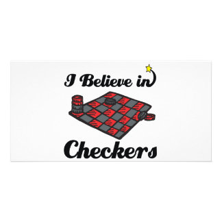 i believe in checkers personalized photo card