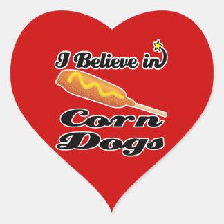 i believe in corn dogs heart sticker