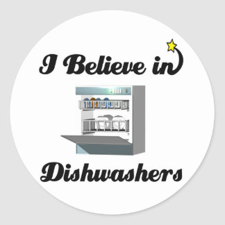 i believe in dishwashers classic round sticker