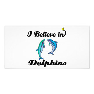 i believe in dolphins customized photo card