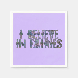 I Believe In Fairies Celtic Knot Design Paper Napkin
