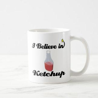 i believe in ketchup basic white mug