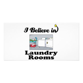 i believe in laundry rooms customized photo card