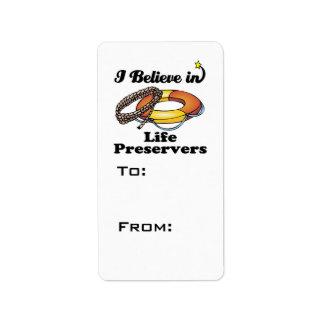 i believe in life preservers custom address label