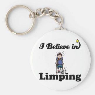 i believe in limping basic round button keychain