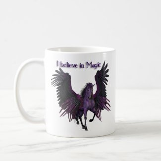"""I believe in magic"" purple Pegasus"
