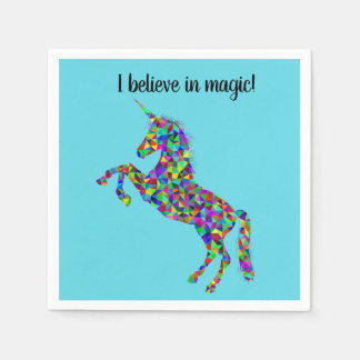 """I believe in magic"" unicorn cocktail napkins Disposable Napkins"