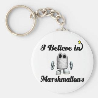 i believe in marshmallows keychain