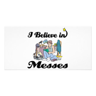 i believe in messes custom photo card
